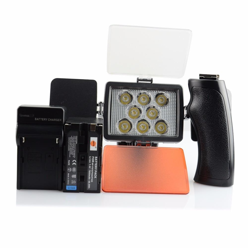 DSTE VL007A 8-LED Video Light + NP-F950 + DC01 Charger for SONY DSLR Camera Camcorder DV LAMP