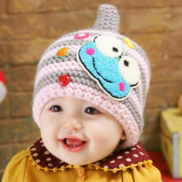 66fe862368ce5 New Arrival Cartoon Frog Winter Knitted Baby Hats Kids Beanie Child Ear  Protector Warm Caps For Baby 3-36 Months Free Shipping