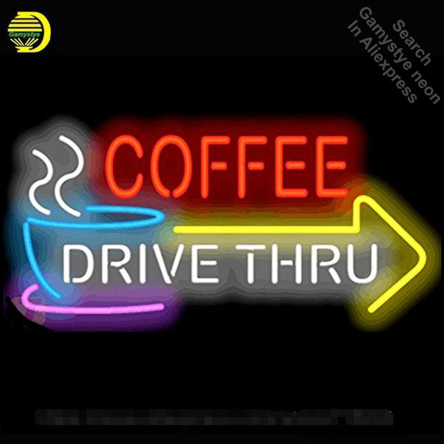 NEON SIGN For Coffee Drive Thru with Right Arrow BAR PUB Club Room display Restaurant Shop Light Signs neon signs for sale