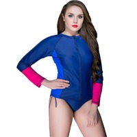2017 Large Size Long Sleeves Women Swimwear Newest Patchwork Plus Size Beach Wear Sun Protection Clothing