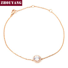 Round Micro Mosaic CZ  Rose/White Gold Plated Bracelet Jewelry Austrian Crystal Top Quality Wholesale ZYH165 ZYH101