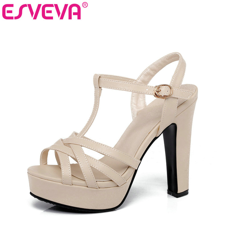 ESVEVA 2017 Thick High Heel Woman Pumps Peep Toe Gladiator Summer Women Shoes Whie Platform Wedding /Dating Shoes Size 34-43 esveva 2017 thin high heel women pumps platform white peep toe wedding shoes sexy ol white ankle strap summer shoes size 34 43