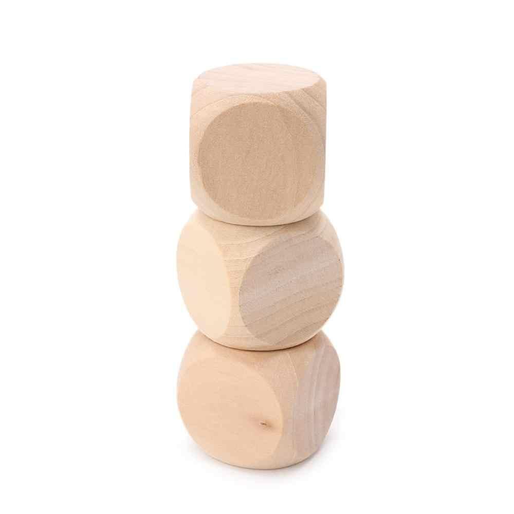 40mm ריק עץ קוביות צעצועי ילד הדפסת חריטה לכתוב ציור DIY משפחת משחק