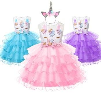 Muababy Gadis Unicorn Berdandan Anak-anak Musim Panas Tanpa Lengan Putri Kostum Anak Pengantin Berlapis Bordir Ulang Tahun Gaun Bola
