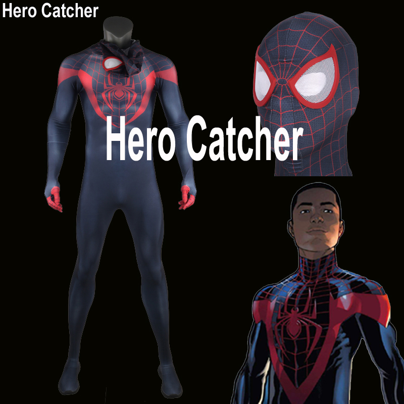 Hero Catcher Ultimate Miles Morales Spider-Man Costume 3D Printing Spandex Lycra Fullbody Spiderman Costume For Halloween ultimate spider man ultimate collection book 4