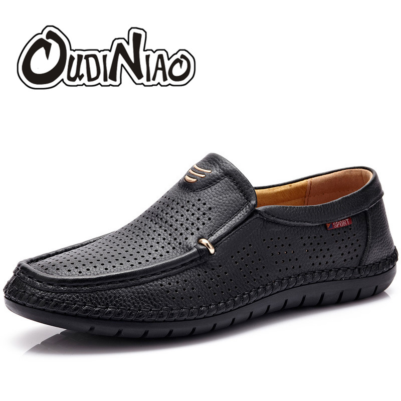 OUDINIAO Breathable Cow Leather Slip On Shoes Men Designers Cut Outs Casual Mens Summer Shoes Hot Sale Soft Male Loafers 2018 худи print bar mr rooster