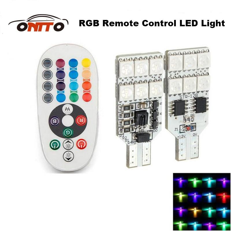 Haute Qualité 2 pcs Télécommande T10 W5W 168 Voiture Intérieur RGB LED dôme tête capot Lumière DC 12 V SMD 5050 auto lampe voiture style