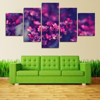 5 Panel Art Scenery Painting For Living Room Art Modular Picture Modern Printed Purple Flowers Painting Wall Art Picture Canvas