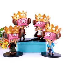 4pcs/set Tony Tony Chopper Crawn king Cosplay cos Luffy Zoro Sanji anime one piece pvc action figure doll model toys Collection
