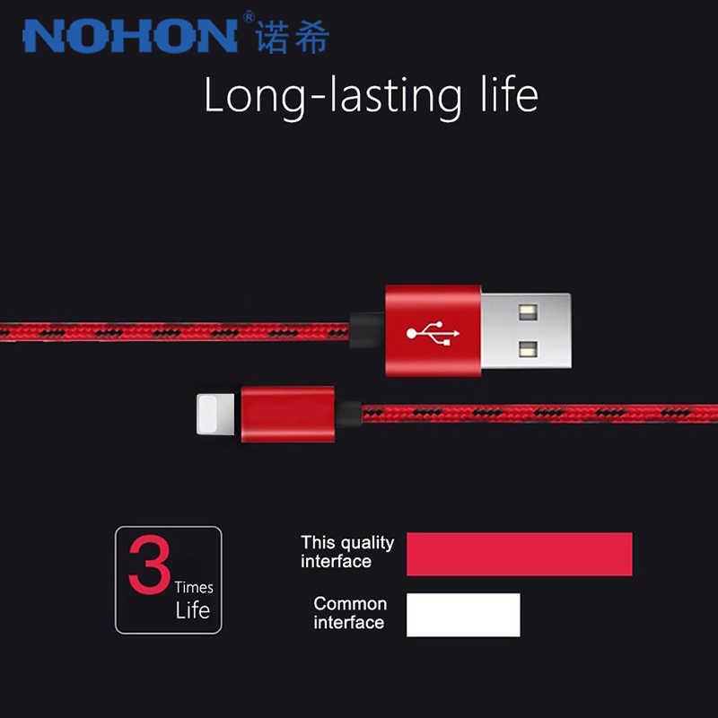 NOHON szybka ładowarka kabel do transmisji danych dla Apple iPhone XR XS MAX 8 7 6S 5S Plus Ipad Mini IOS 10 11 12 ładowania telefonu synchronizacji Nylon kable