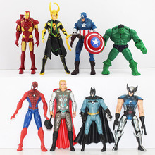 Newest 8Pcs lot The PVC Model Figure Toys With LED Spider man Hulk Thor Superman Captain