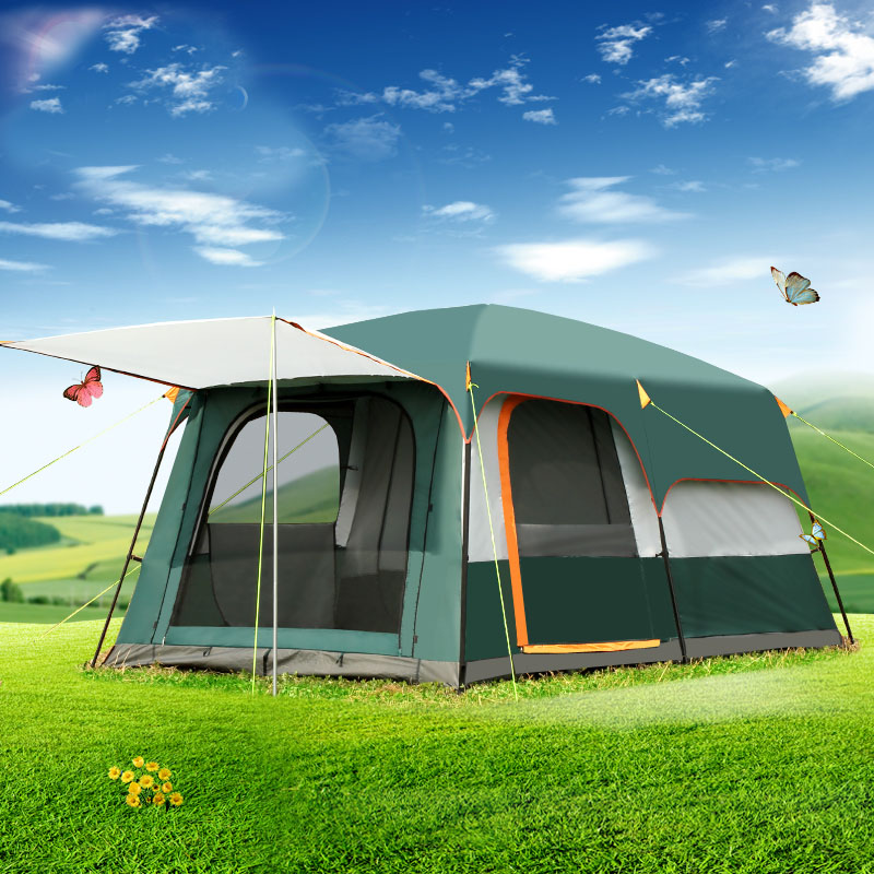 5 8persons double layer outdoor 2living rooms and 1hall family camping tent in top quality large