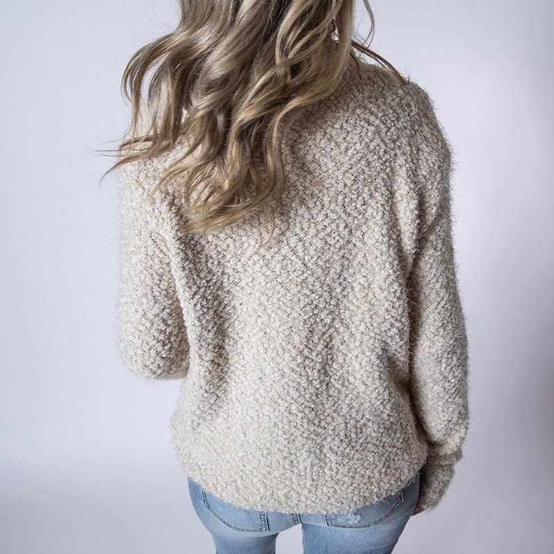 2018 New Arrival mùa thu mùa xuân tops phụ nữ dài tay áo lông cừu Áo Khoác thời trang giản dị slim O Cổ áo thun áo len nữ tops