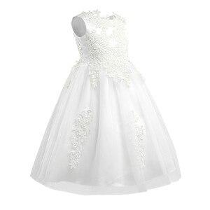 Image 2 - Bebek çocuk topu elbisesi parti resmi çiçek kız elbise suda çözünür prenses Pageant törenlerinde tül Maxi düğün parti elbise