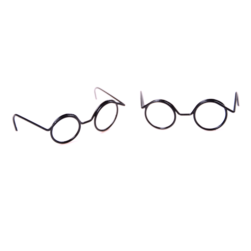 2PCS Cute Round Frame Lensless Retro Cool Doll Glasses Dolls Accessory For Blyth Dolls Toy