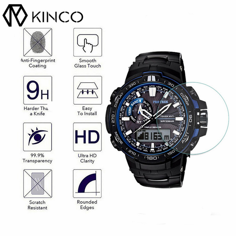 KINCO Transparent 0.3mm 2.5D Tempered Glass High-definition Clear Smart Watch Protect Film for Casio PRO-TREK PRW-6000/PRW-6100