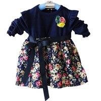 2015 האביב החדש קוריאני בנות כותנה שרוול ארוך שמלה פרחונית תינוק השמלה של ילדה לילדים ממליצים 0-3 שנים תינוק vestidos