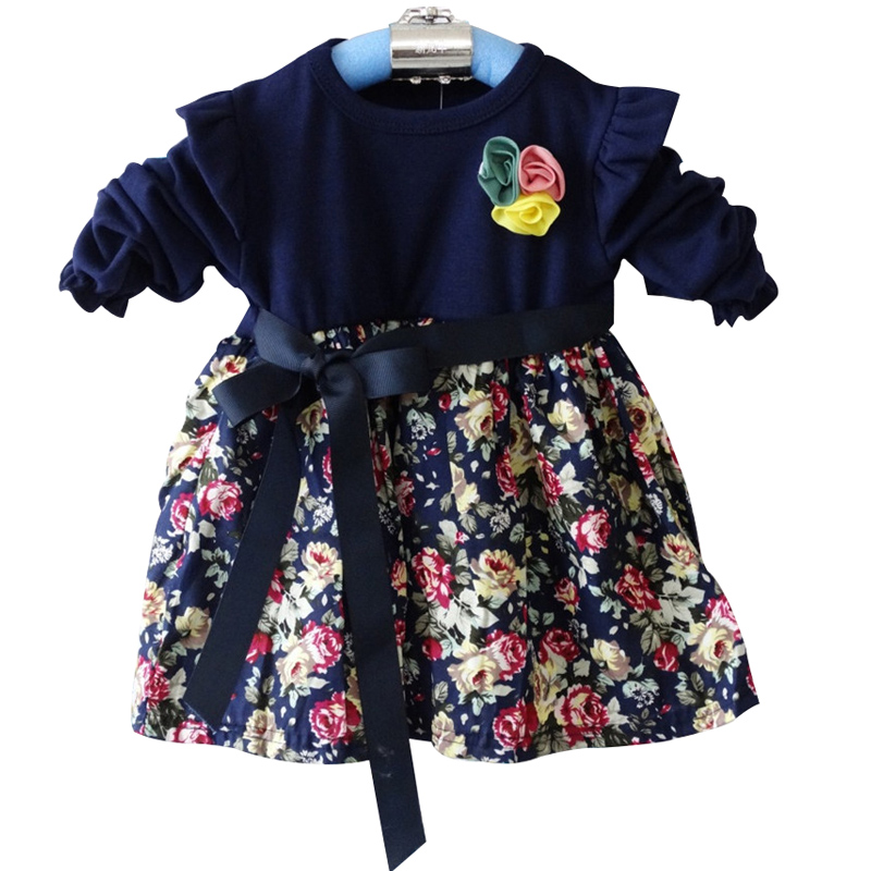 2015 spring new Korean girls cotton Long sleeve floral dress Recommend 0-3 years girl Children's Dress baby vestidos baby