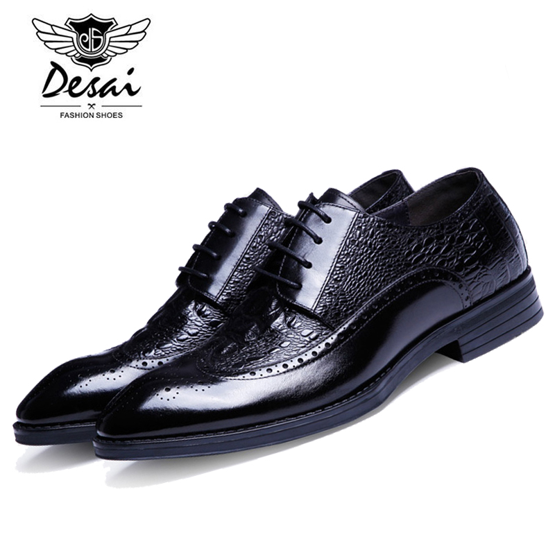 DESAI Cow Genuine Leather Wedding Dress Shoes Black/Red/Brown Business Shoes Men's Crocodile Pattern Formal Office Shoes DS0008 top quality crocodile grain black oxfords mens dress shoes genuine leather business shoes mens formal wedding shoes