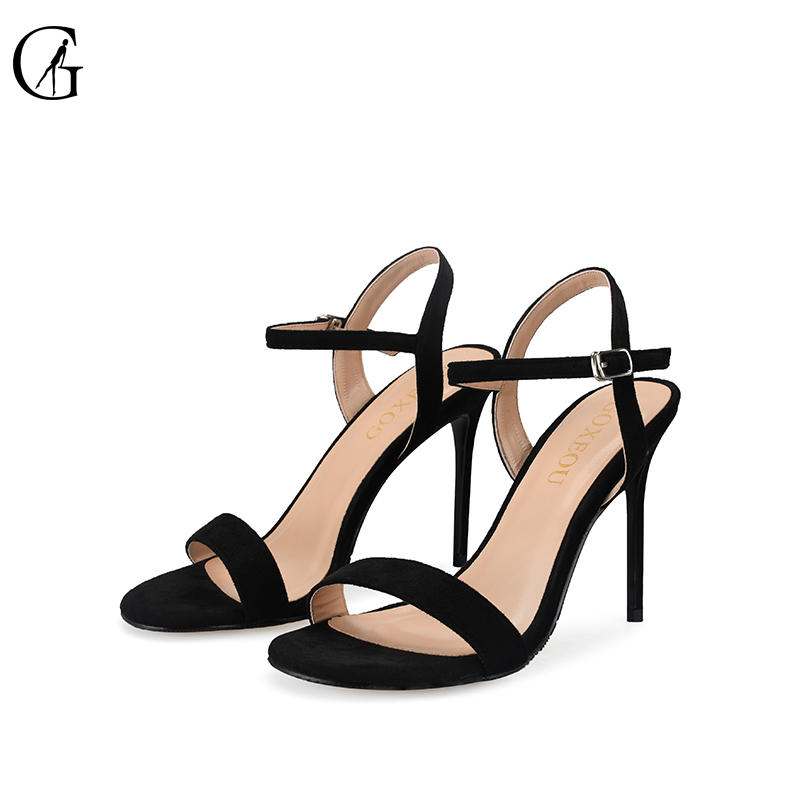 GOXEOU 2018 New Fashion Women Sandals size32-46 Thin Heel High Heels Sexy Summer Lace-up Party Round Toe Handmade Free Shipping