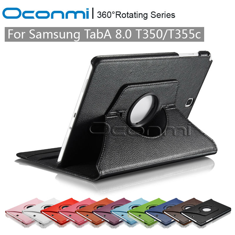 360 Rotating PU Leather cover case for Samsung Galaxy Tab A 8.0 with stand function for Samsung SM-T350 SM-T355c Tablet cover pu leather case stand cover for samsung galaxy tab a 9 7 sm t550 t555 p550 9 7 360 rotating tablet smart flip cover sm t550