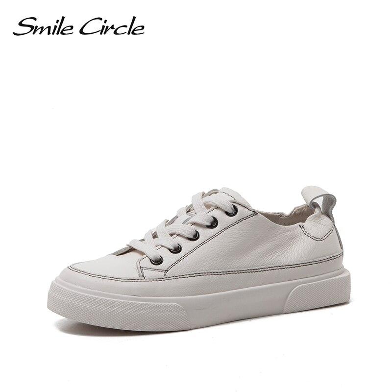 รอยยิ้มวงกลมรองเท้าผ้าใบสีขาวแบนรองเท้าฤดูใบไม้ผลิ 2019 ใหม่ Ultra soft Lace up Casual Flats รองเท้าผู้หญิงแพลตฟอร์มรองเท้าผู้หญิง-ใน รองเท้ายางวัลคาไนซ์สำหรับสตรี จาก รองเท้า บน AliExpress - 11.11_สิบเอ็ด สิบเอ็ดวันคนโสด 1
