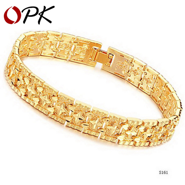OPK JEWELRY delicate sculpture band Gold Color Bracelet & Bangle retro style wide wristband infinity bracelet hot, 161