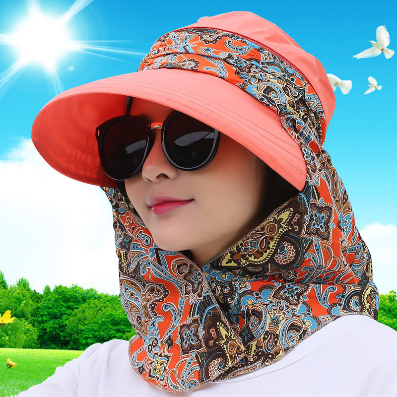 44fa94266df 2017 Summer Foldable Sun Hats For Women Anti UV Travel Hats with neck flap  female Mask
