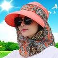 2017 Verão Sol Dobrável Chapéus Para Mulheres Anti UV Viagem Chapéus com aba pescoço Cap Máscara feminino Ampla Grandes Brim chapéus de caçamba ZXM-JY-019