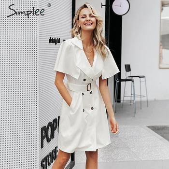Simplee Solid ruffled sleeve women blazer dress Elegant sash belt office ladies trench dress V-neck shawl party dress vestidos 1