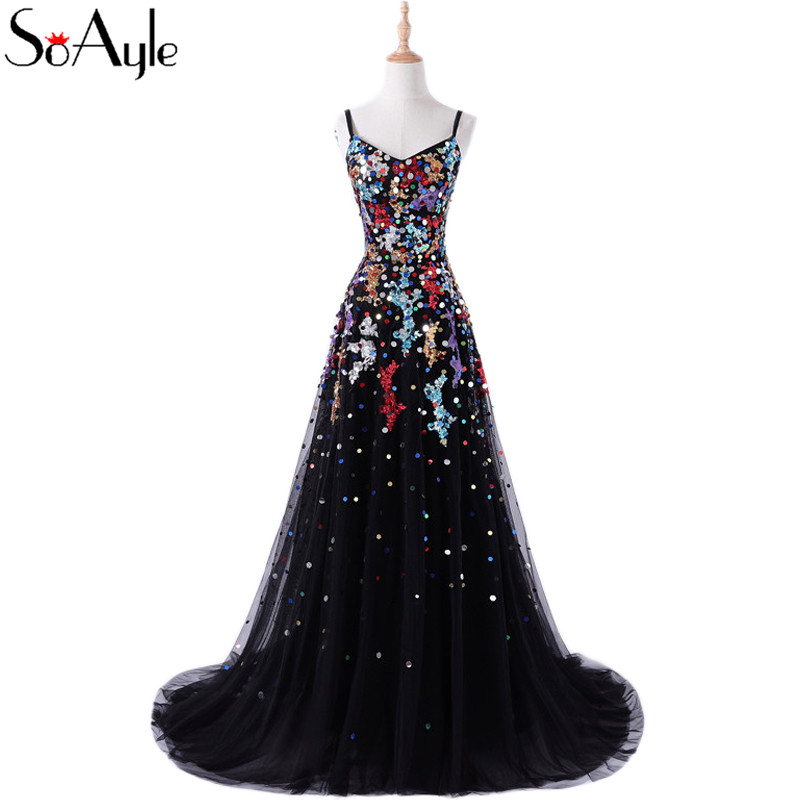 4e38a154a44af SoAyle Clearance 2018 A Line Spaghetti Straps Sequin Colorful Evening  Dresses Backless Plus Size Vestidos De Festa Vintage-in Evening Dresses  from Weddings ...