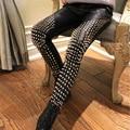 Europe Star Handmade Punk Rock Style Heavy Metal Rivet Leather Pants Soft Leather Black Long Trousers Fashion PU Rivet Pants
