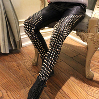 Europe Star Handmade Punk Rock Style Heavy Metal Rivet Leather Pants Soft Leather Black Long Trousers Fashion PU Rivet Pants