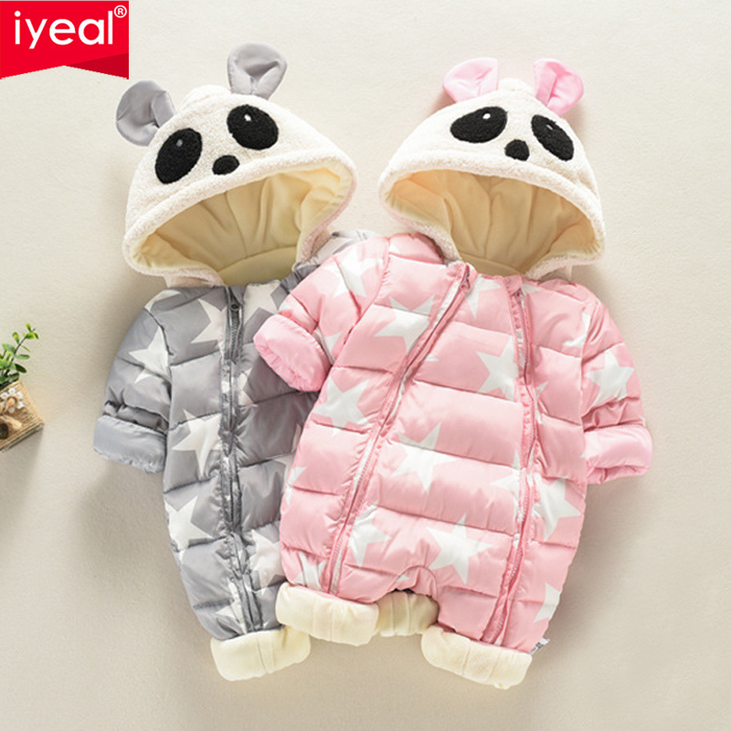 IYEAL Cute Panda Hooded Thick Infant Romper For Kids Baby Newborn Inside Soft Warm Flannel Winter Toddler Overalls Baby Clothes iyeal 2017 winter thick warm newborn baby clothes kids boy cotton long sleeve cute print romper toddler infant overalls 0 12m