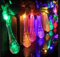 DBF Solar Outdoor String Lights Water Drop Garlands Lights 20LED Solar Garden Christmas Lights Holiday