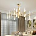 Современная мода дизайнер черного и золотого цвета светодиодный потолочный светильник в стиле арт-деко подвесная люстра, лампа для Кухня Г...