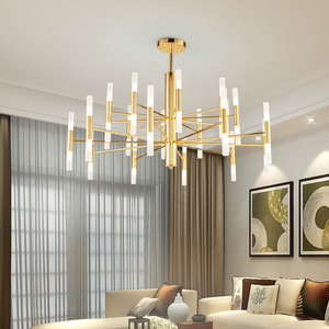 Image 1 - Современная модная дизайнерская Потолочная люстра черного и золотого цвета, Подвесная лампа в стиле арт деко светильник кухни, гостиной, лофта, спальни