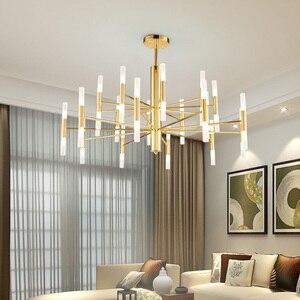 Image 1 - Designer de moda moderna ouro preto led teto arte deco suspenso lustre lâmpada luz para cozinha sala estar quarto loft