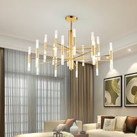 Modern Fashion Designer Black Gold Led Ceiling Art Deco Suspended Chandelier Light Lamp for Kitchen Living Room Loft Bedroom
