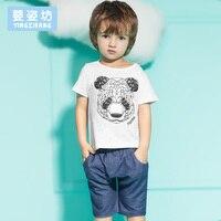 2017 Doğrudan Satış O-Boyun Unisex Kazak Yaz Yeni Erkek Bebek Kız Elbise Desen Panda Toddler Giyim Çocuk Set 2 Parça