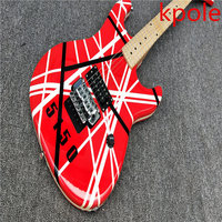 Best price new arrival Kpole EH Krme 5150 guitar red color black and white striped rose free transport