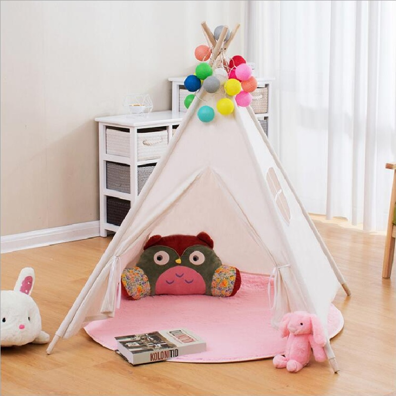 Kids Indian Play Tent Children Teepees Cotton Canvas Fabric Playhouse Indoor Toy Room Decoration Photo Props