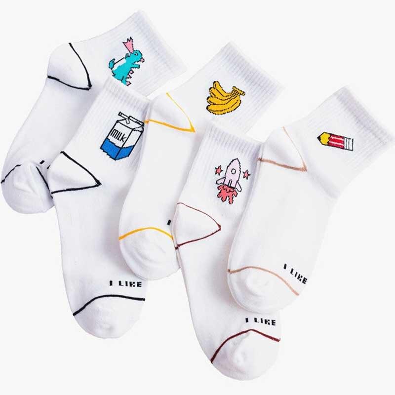 Women Cartoon Character Cotton Socks Cute Unisex Skatebord Hipster Fashion Animal Print Ankle white socks korean style women in Stockings from Underwear Sleepwears