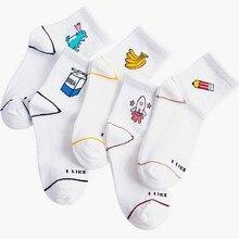 цена Women Cartoon Character Cotton Socks Cute Unisex Skatebord Hipster Fashion Animal Print Ankle white socks korean style women