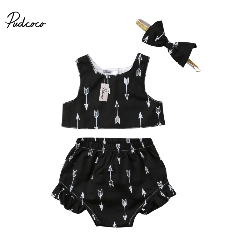 Lovely Newborn Kids Baby Girls Sleeveless Crop Tops Shorts Outfits Sets Clothes Baby Girl Ruffles Bow Set