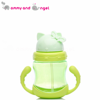 Baby Bottle Pp Happy Kitty Kids Straw Cup With Handles Child Bottle Sippy Cups Children Learn