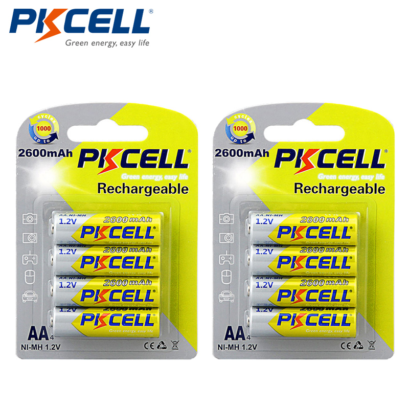 8pcs/2cards PKCELL 2600Mah 1.2V AA NI-MH Batteries NIMH AA Rechargeable Battery Batteries Bateria Baterias
