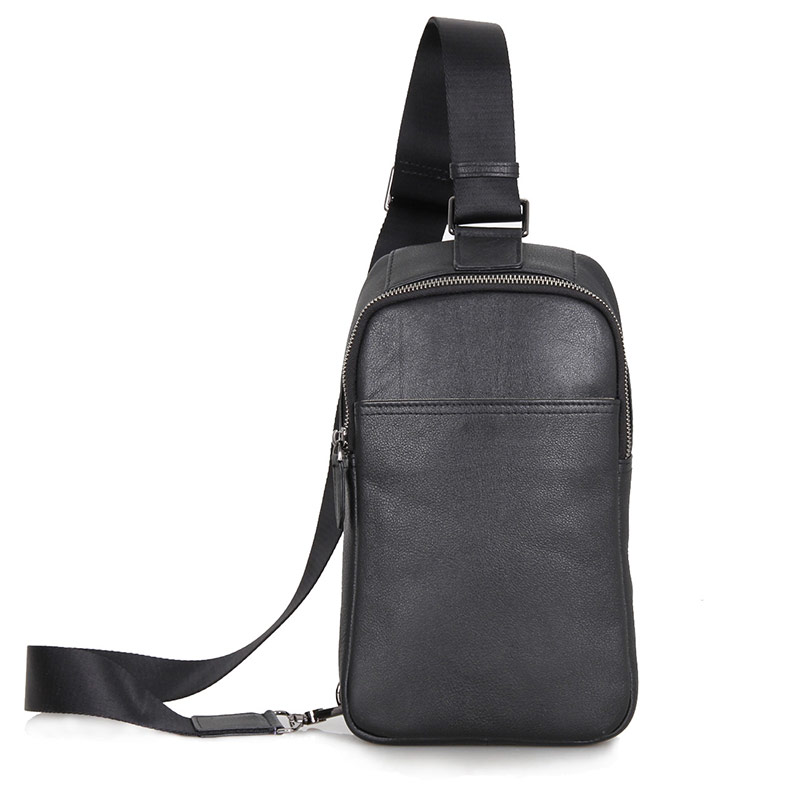 J.M.DGenuine Cow Leather Men's Chest Bag Cross Body Small Black Backpack For Man 4001A cow leather man backpack 100