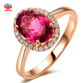 Brand Fashion Red Crystal Wedding Rings For Women Rose Gold Plated Crystal Jewelry Girls Rings YH077