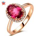Marca de Moda Anéis de Casamento de Cristal Vermelho Para As Mulheres Rose Banhado A Ouro Jóia de Cristal Anéis de Meninas YH077